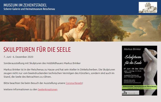 Ankündigung Ausstellung auf Homepage des Museums