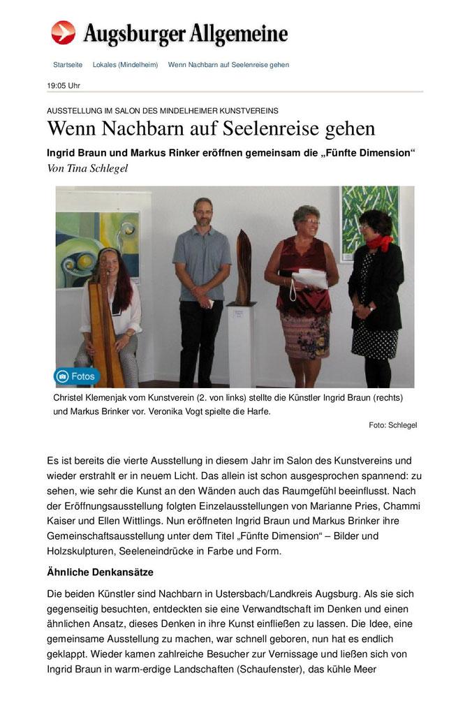 Pressebericht Ausstellung 5. Dimension von Markus Brinker und Ingrid Braun