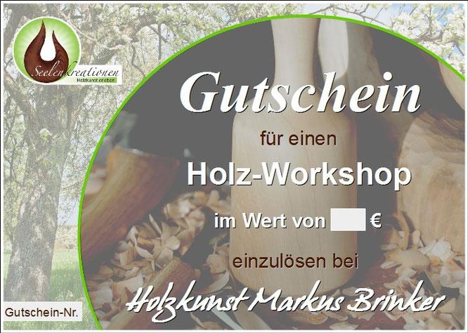 Muster Geschenkgutschein für Holz-Workshop
