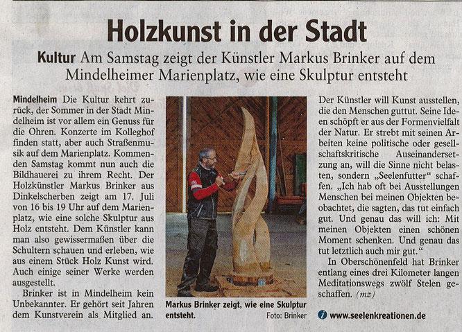Pressebericht Vorführung Holzbildhauen, Mindelheimer Zeitung 16.07.2021