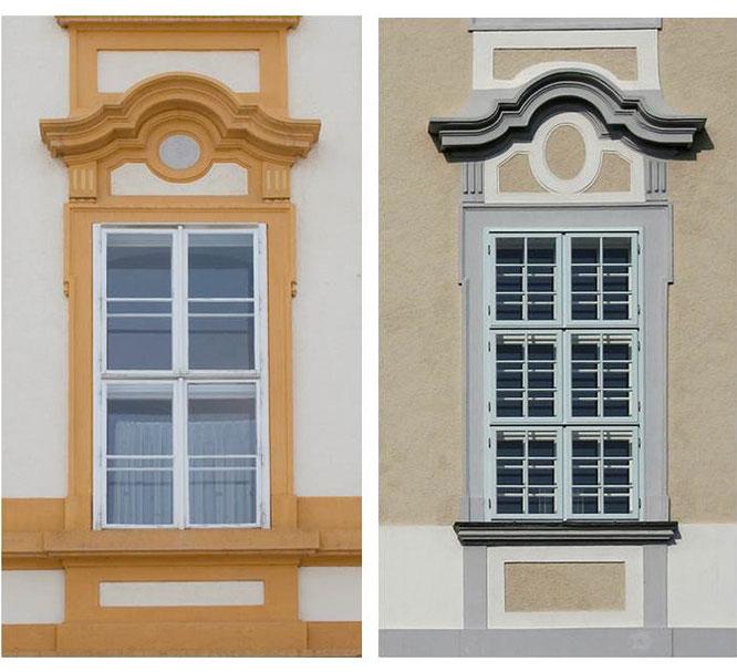 Links: Ein Fenster des Stiftes Melk. Rechts: Ein Fenster des Stiftes Herzogenburg.