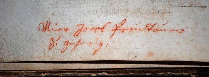 Detail des Besitzvermerkes Jakob Prandtauers
