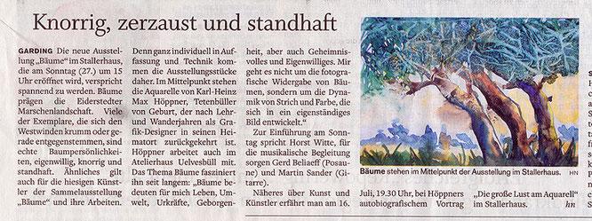 """Zeitungsartikel zur Ausstellung """"Bäume"""" von Max Höppner"""