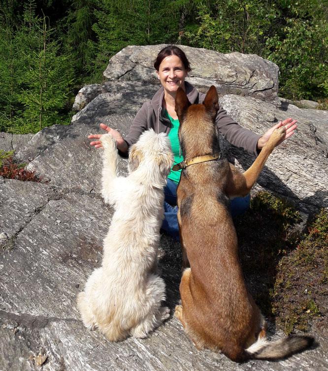 Hundeschule Bello Fantastico, Stephi Riedel mit Hunden unterwegs