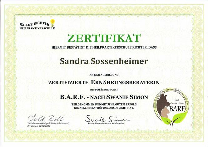 Ernährungsberaterin BARF Sandra Sossenheimer. August 2014