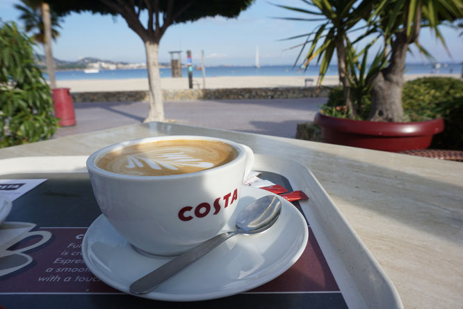 Costa Coffee, magaluf, Mallorca, Strand, Kaffee
