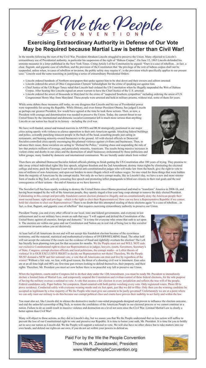 ワシントン・タイムズに出稿された戒厳令を要求する「We the People Convention」の広告。