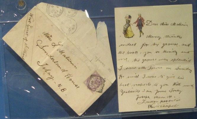 唯一現存するメリックの手紙。