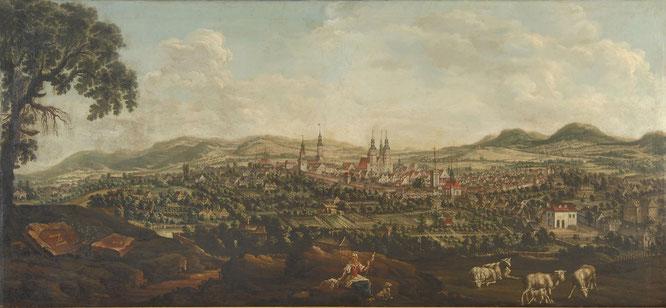 Franz Anton Brosch, Blick auf Zittau von Nordwesten, um 1750, Öl auf Leinwand, Städtische Museen Zittau