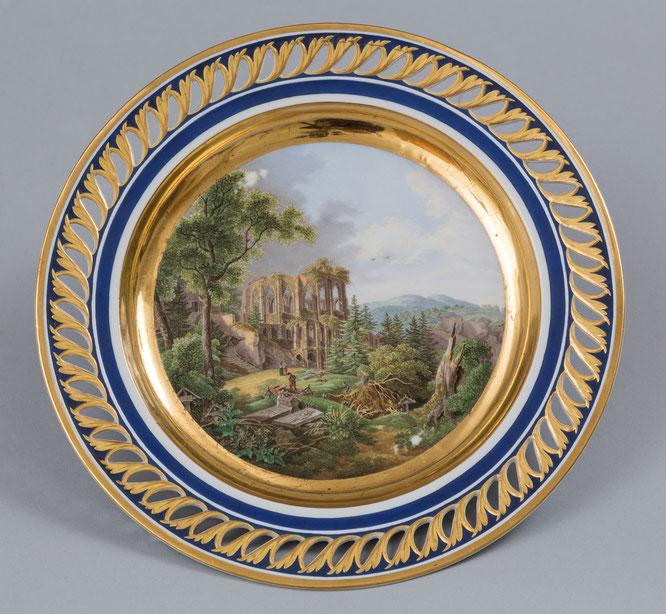 Porzellanteller mit Motiv des Oybins, 1801/1815, Meißen, Städtische Museen Zittau