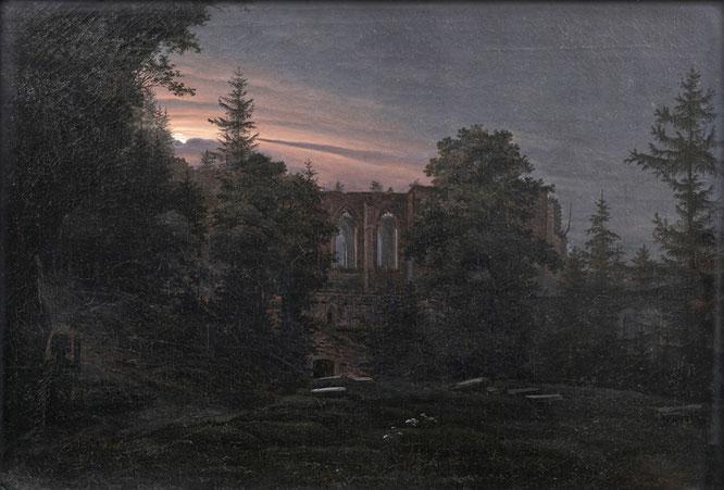 Georg Heinrich Crola, Die Klosterruine auf dem Oybin im Mondschein, um 1828, Öl auf Leinwand, Lippesches Landesmuseum Detmold