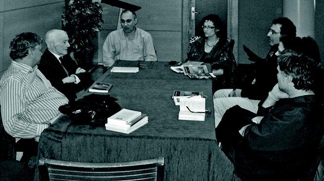 Abril, 2011; Casa Cultura Alberto Vega, La Felguera (Langreo): Fernando F. Tamargo, Torrecilla, Bermejo, Asunción, Alfredo, Eva Vallines y Roberto.