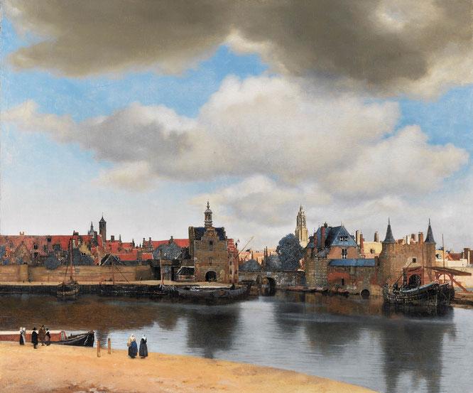 Johannes Vermeer: «Vista de Delft», 1660-1661, óleo sobre lienzo, 96'5 cm × 115,7 cm (fuente: wikipedia)