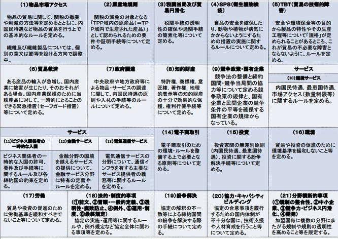 TPP交渉分野