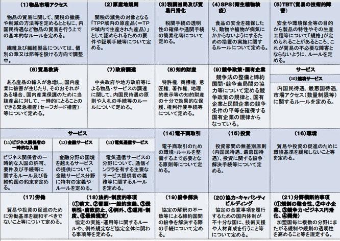 TPP交渉で扱われる分野一覧(政府資料より)
