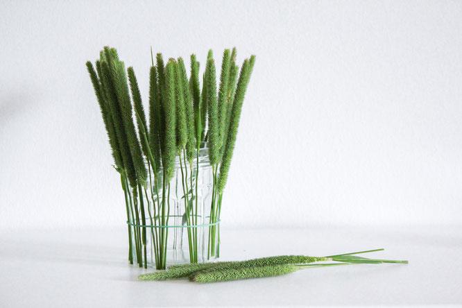 Befestigen der Gräser DIY Windlicht