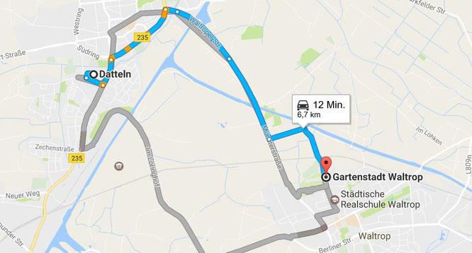 Entfernung Am Mühlenbach Datteln zur Kleingartenanlage Waltrop