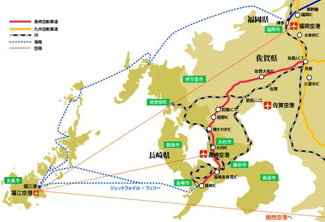 五島列島福江島までのアクセス地図