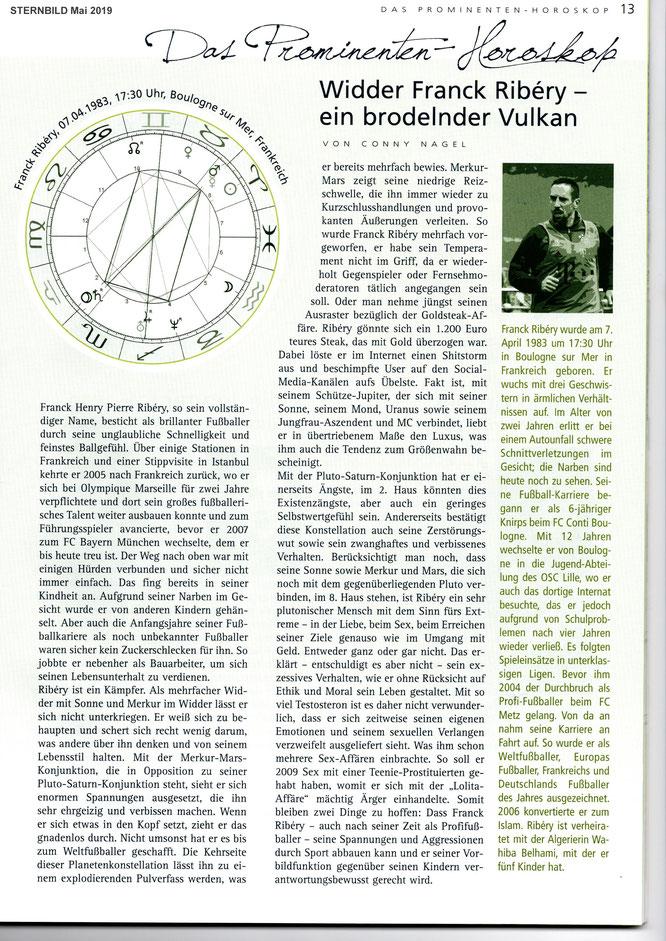 Franck Ribéry, Fußballer, Weltfußballer, Europafußballer, Bayern München, Autorin Conny Nagel, Sternbild Mai 2019
