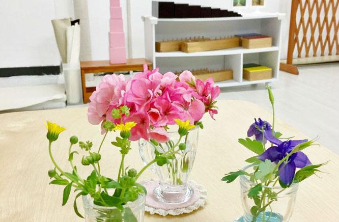 モンテッソーリの活動の生け花。色ごとに分けて生けられた花