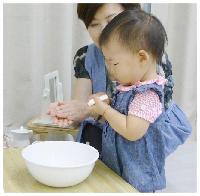 ステッラコースでの「手を石鹸で洗う」活動