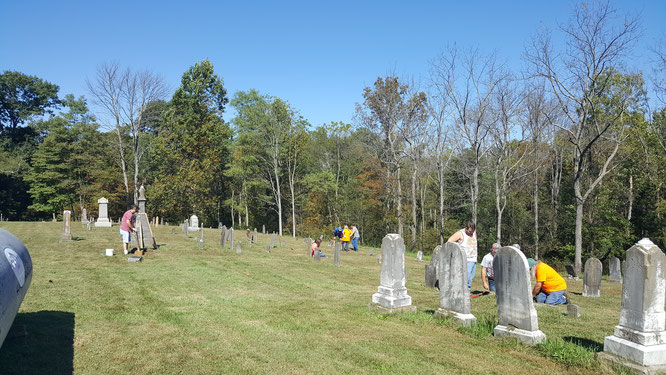 The Trimble Co. Historical Society Cemetery Club Working at Corn Creek Baptist Church. Photo courtesy of Tina Mitchell Boutall for the Trimble County Historical Society of Kentucky. 14 Oct 2017.