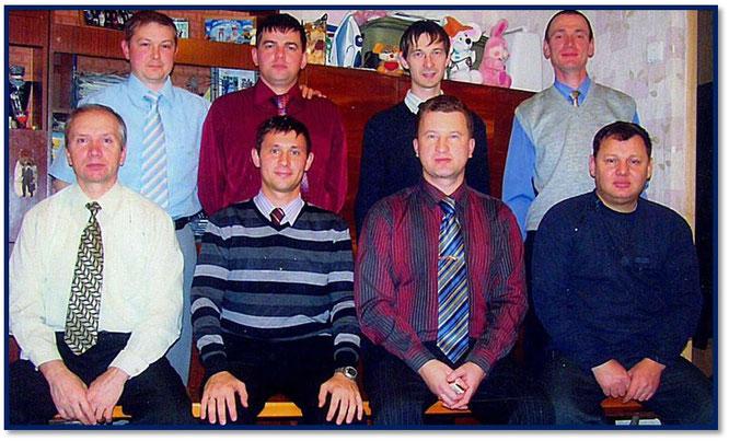 Верхний ряд слева: Бакин, Фотин, Жученко, Швалёв Нижний слева: Балабанов, Заякин, районный Кандауров