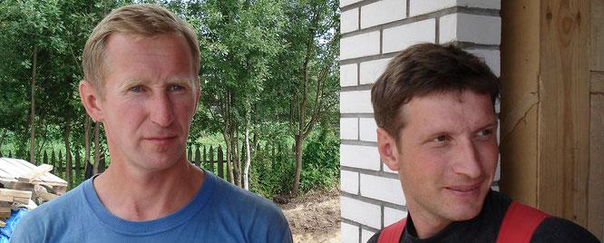 Александр Догадов руководил местными строителями Зала в Шлиссельбурге, а справа - подрядчик от ОСБ