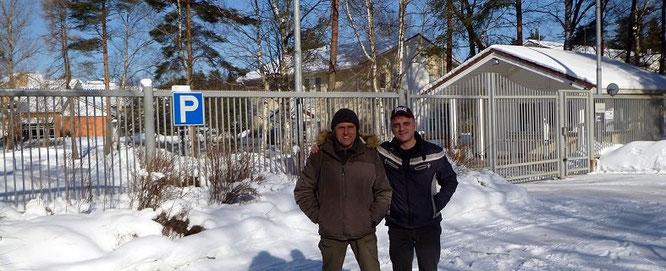 Алексей Егоров и Станислав Ковтун  на фоне нового Солнечного. Март 2018 года