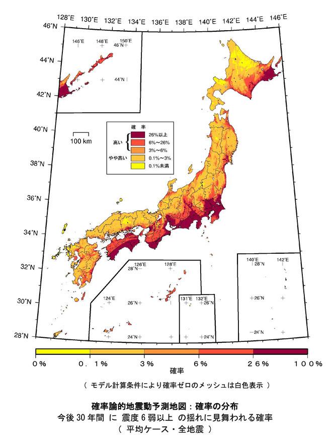確率論的地震動予測地図:確率の分布