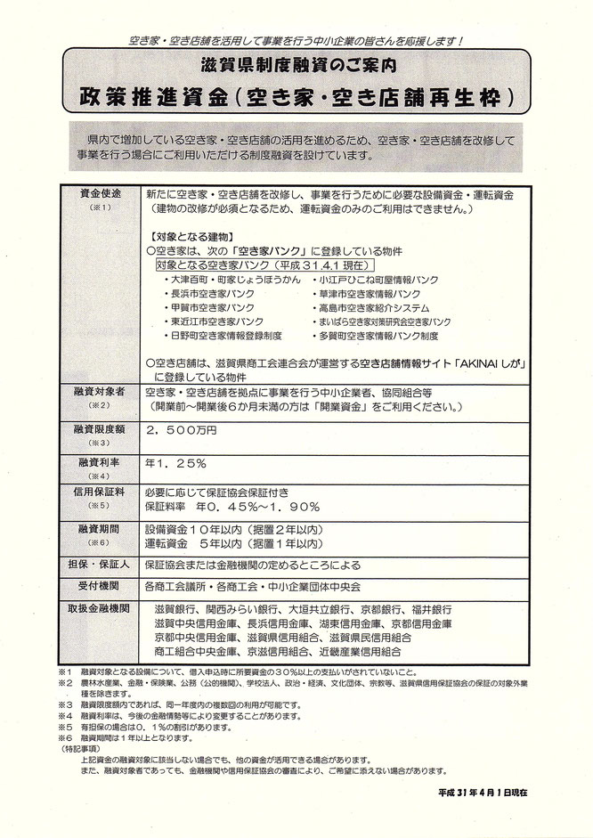 滋賀県制度融資のご案内 政策推進資金(空き家・空き店舗再生枠)