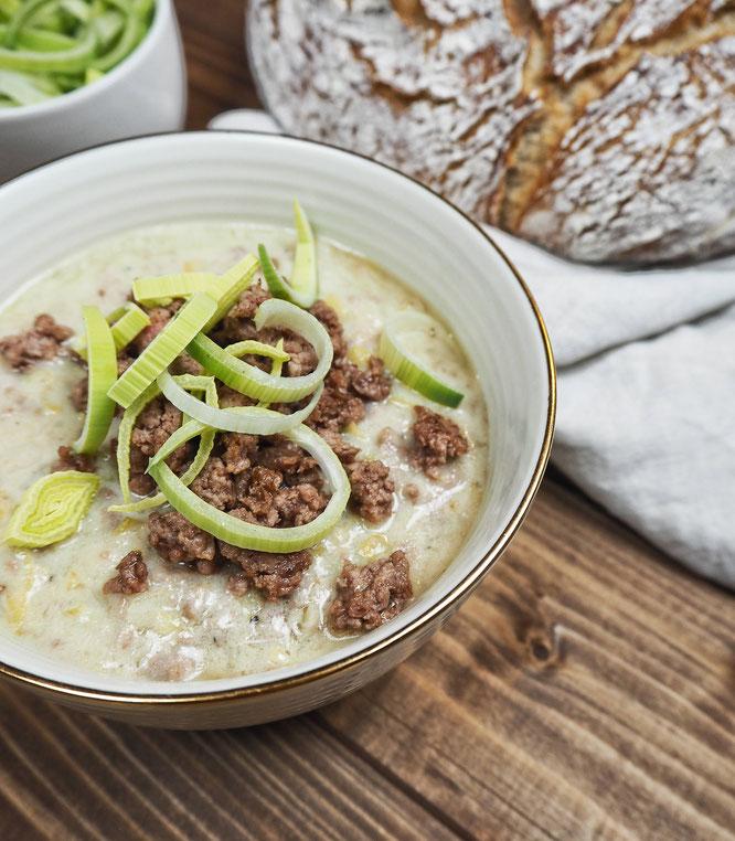 Hackfleisch-Käse-Lauch-Suppe