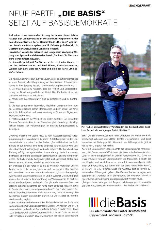 "dieBasis in ""Thema-Das Güstrowjournal (Quelle Güstrowjournal / Ausgabe Mai 2021 /Seite 11)"