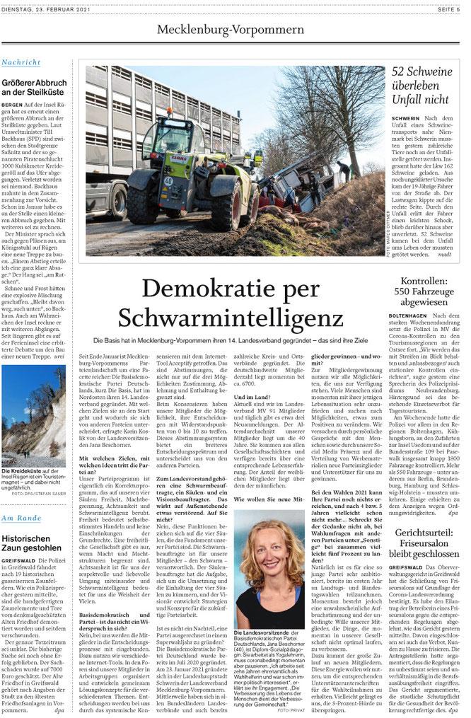 Schweriner Volkszeitung vom 23.02.2021
