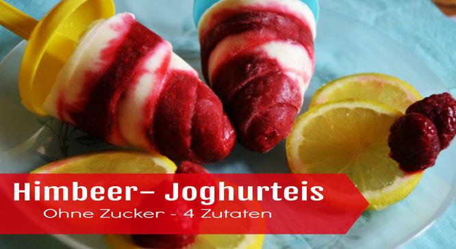 Himbeer Joghurteis Selbstgemachtes Eis am Stiel ohne Zucker