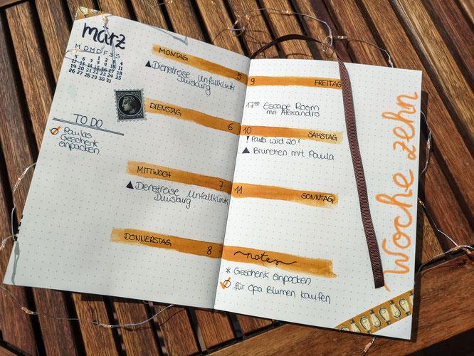 Bullet Journal, filofax, wochenübersicht, planer, vintage