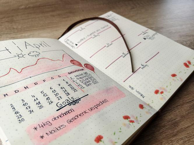 Bullet journal, planer, filofax, monatsübersicht, wochenübersicht, idee