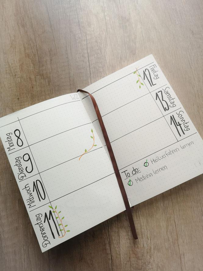 Filofax, bullet journal, Wochenübersicht, Organizer, Planer
