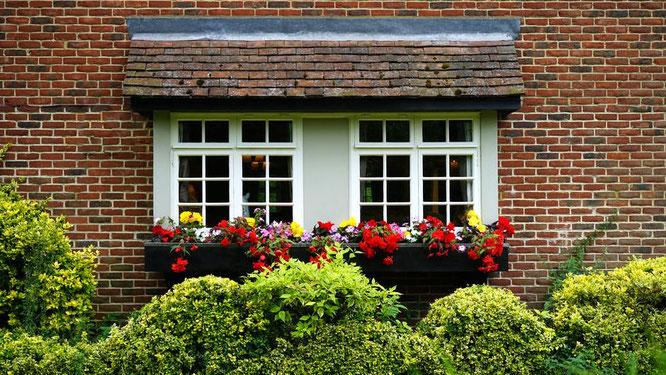 Casa, fiori, finestra, giardino, facciata, facciavista, edilizia, costruzioni