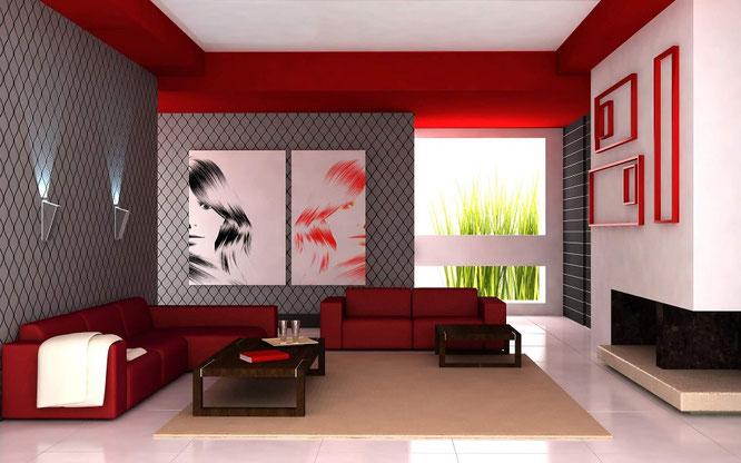 Rosso caliente, interior design, arredamento, colori case, pareti, arredare casa, impianti sardegna