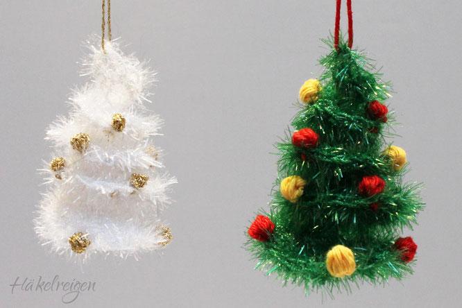 Weihnachtsbaum Anhänger aus Schwammgarn Häkelreigen Haekelreigen