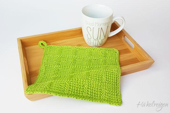 Karo dishcloth Tunisian crochet Haekelreigen