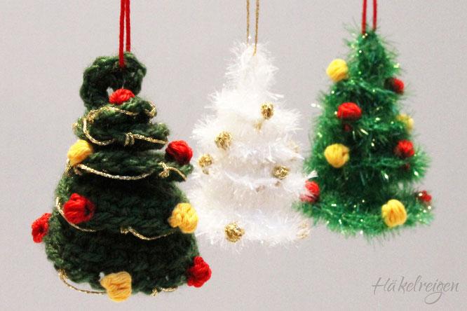 Weihnachtsbaum Anhänger gehäkelt Häkelreigen Haekelreigen