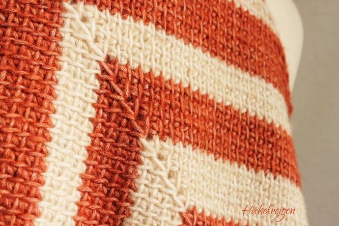 Muster tunesisch gehäkeltes Tuch Meridia Häkelreigen