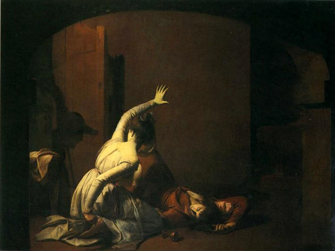 La scène du tombeau (1790, Jospeh Wright of Derby)