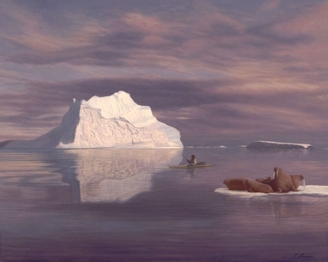"""KINGDOM OF THE ICE"" Walrus/Eskimo/Kayak - Lorenzo Fracchetti"