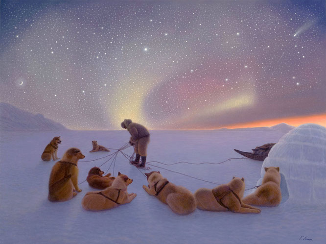 """UNDER GUIDING LIGHTS"" Husky Sled Dogs / Northern Lights - Lorenzo Fracchetti"