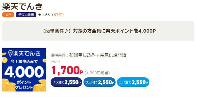 ポイ活サイト比較一覧ランキング1位ライフメディア経由で1,700円稼げる