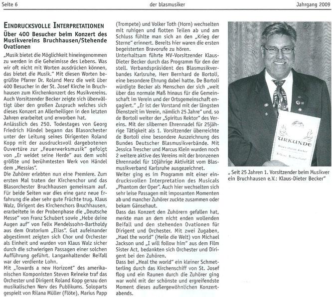 """""""der blasmusiker"""" Bericht 15.11.2009"""