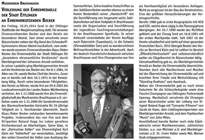 """Bericht """"der blasmusiker"""" Ausgabe 02.2014"""
